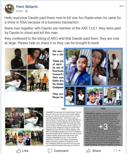 Davido is a cultist,a member of the Dreaded black Axe Cult