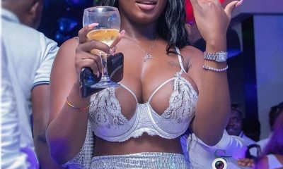 Nina Richie shows of her huge bosom at the Dj Mensah All white Party