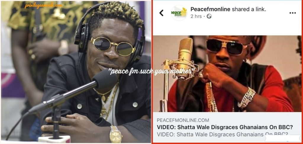 Trending! 'Suck your Mother for this' - Shatta Wale disses Peace fm