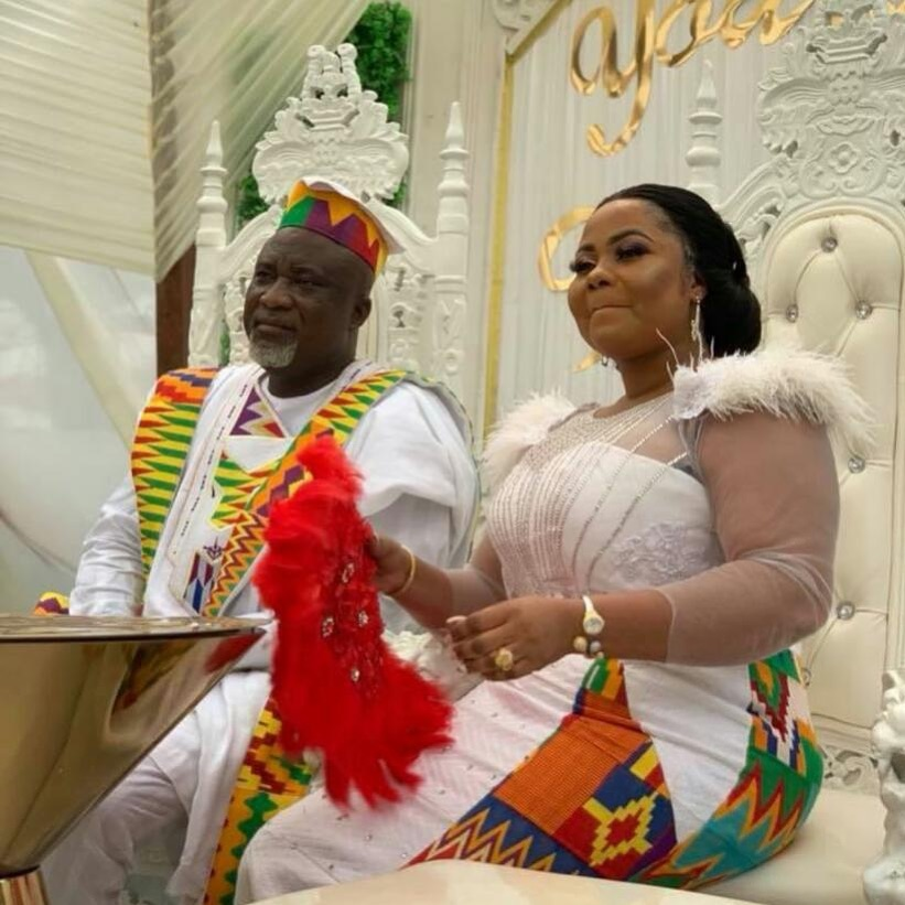 Gospel artiste, Gifty Osei backsides new husband on wedding day(photos)