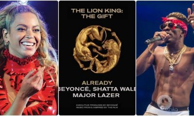Beyoncé features shatta wale and Major Lazor on his new album titled 'the lion king'