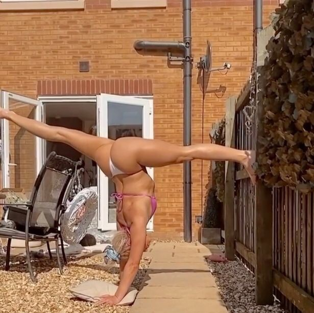 Love Island's Gabby Allen shows off toned physique as she does the splits in isolation