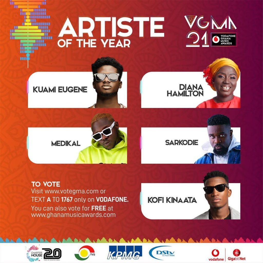 VGMA 2020: Artiste of the Year(Sarkdie)