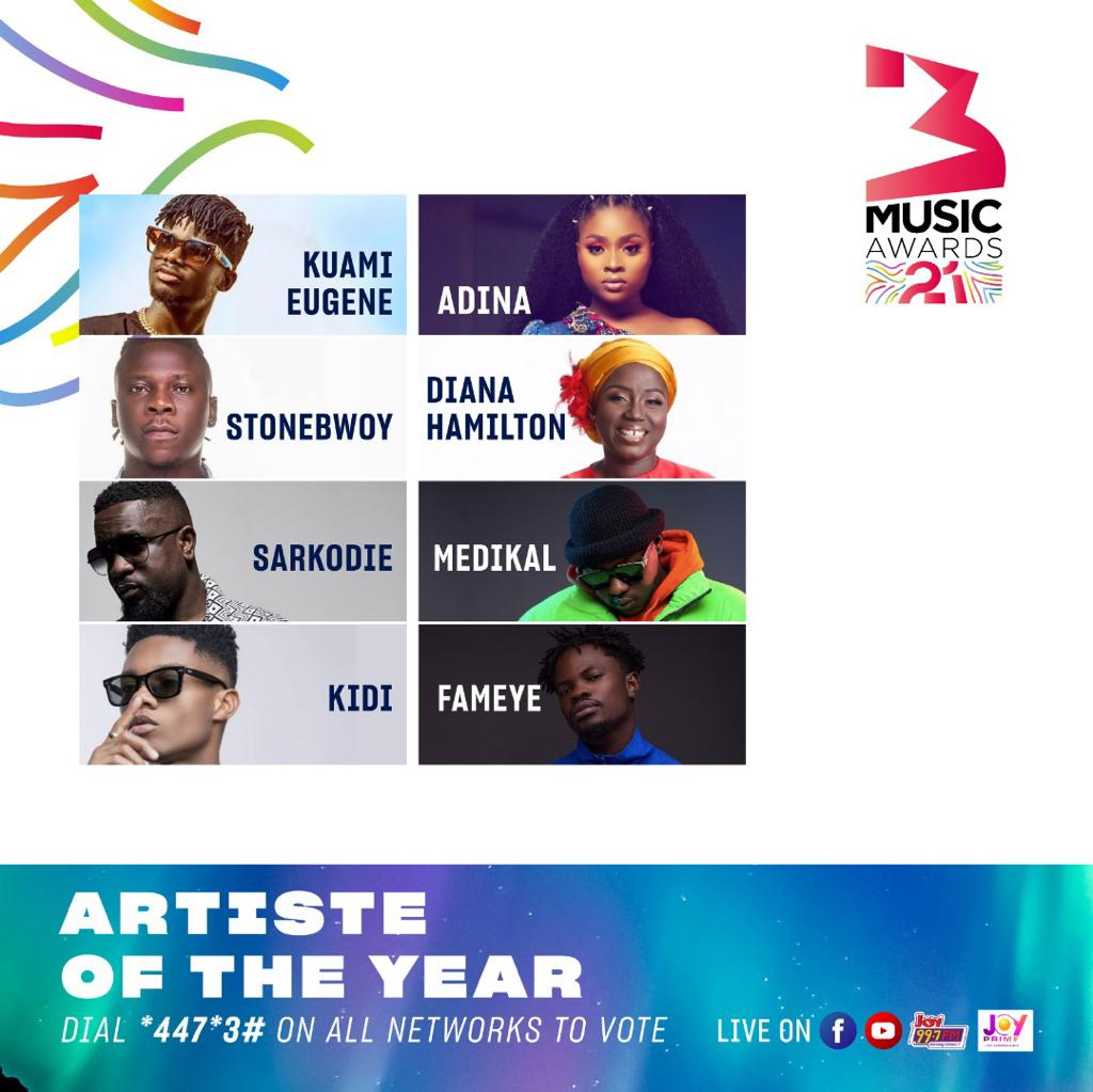 3Music Awards 2021: Kidi bags eleven nominations