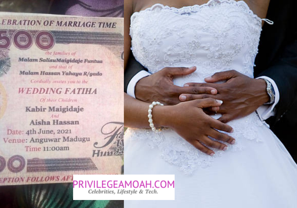 Too Much Money As Rich Men Print 'Wedding Invite' on Naira Notes